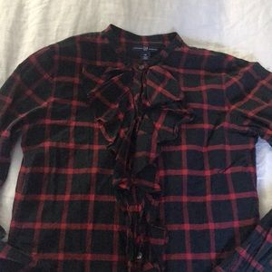 Gap Red Plaid Button Down with Riffle Shirt